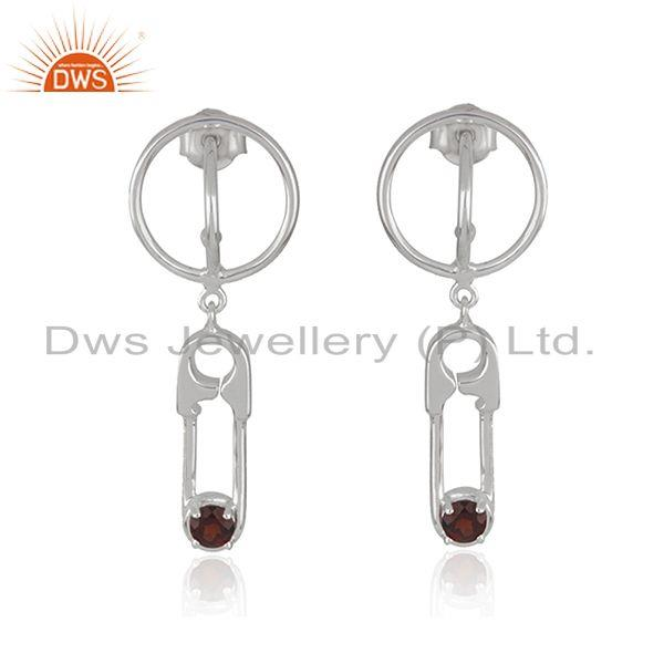 Custom Pin Design Fine Sterling Silver Garnet Gemstone Earrings Wholesale
