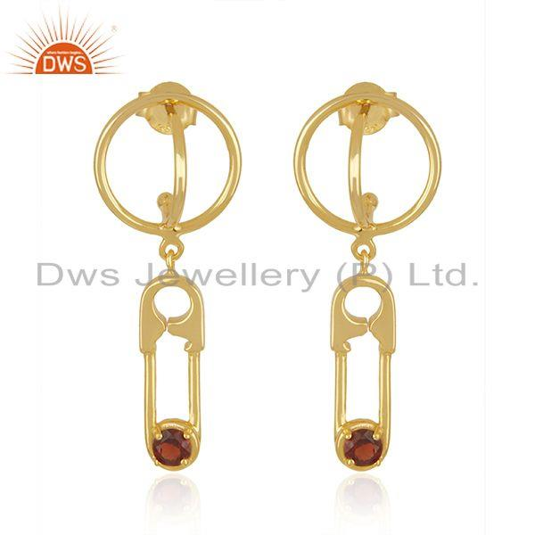 Garnet Gemstone Gold Plated 925 Silver Pin Design Earring Manufacturer in Jaipur