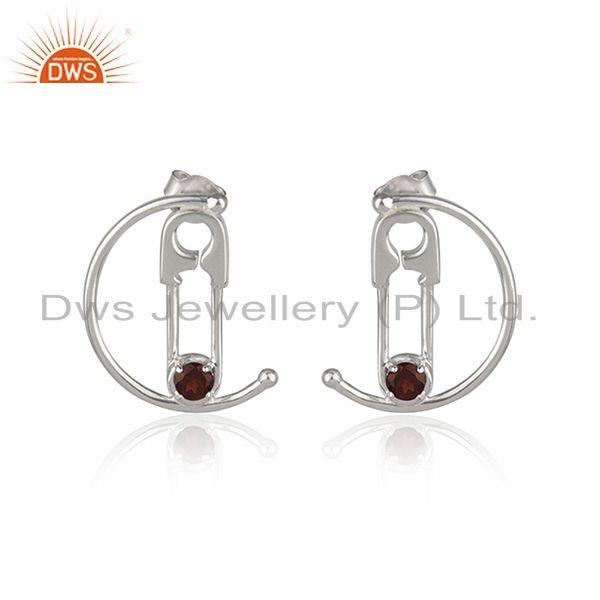 Customized Pin Design Fine Sterling Silver Garnet Gemstone Earrings Manufacturer