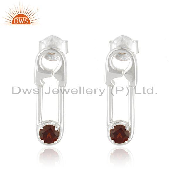 Natural Garnet Gemstone Fine Sterling Silver Pin Design Earrings Suppliers