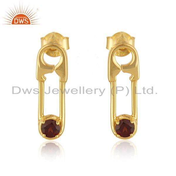 18k Gold Plated Sterling Silver Garnet Gemstone Pin Design Earrings Manufacturer