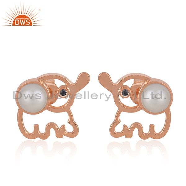 Rose Gold Plated 925 Silver Elephant Design Pearl Stud Earring Manufacturer
