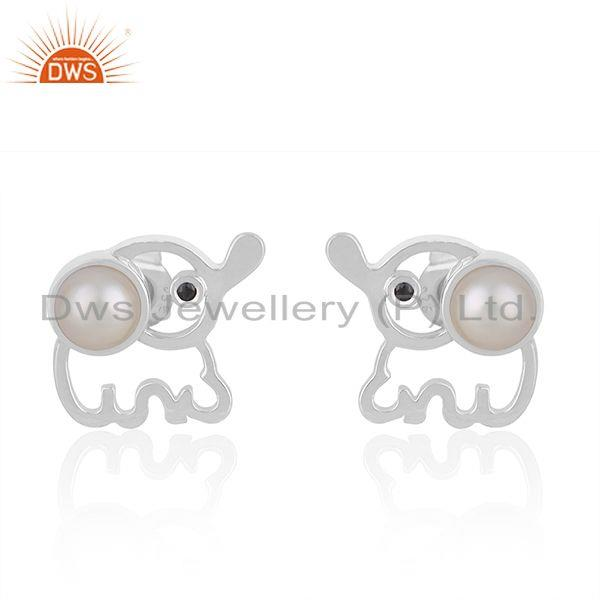 Custom Elephant Design 925 Silver Pearl Stud Earring Manufacturer India