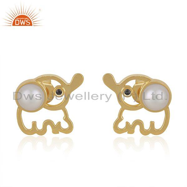 Elephant Design Customized 925 Silver Gold Plated Pearl Stud Earring Wholesaler