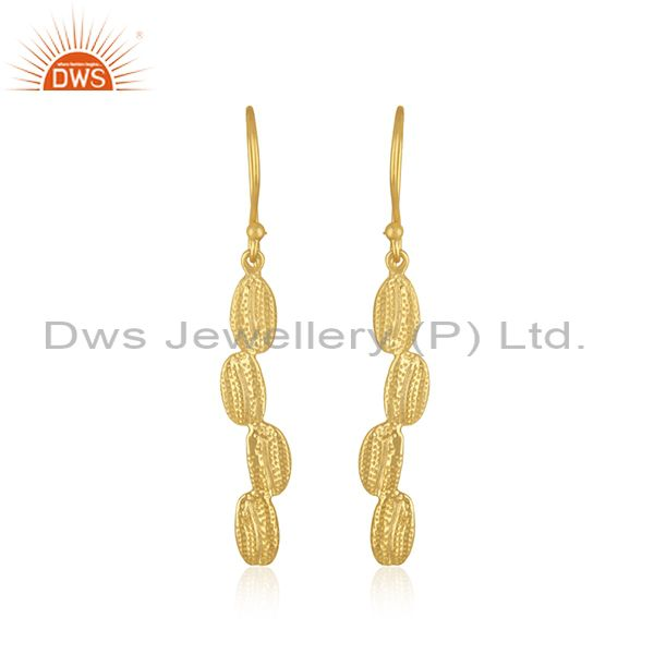 Handcrafted 925 Sterling Silver Gold Plated Dangle Earrings Manufacturer INdia