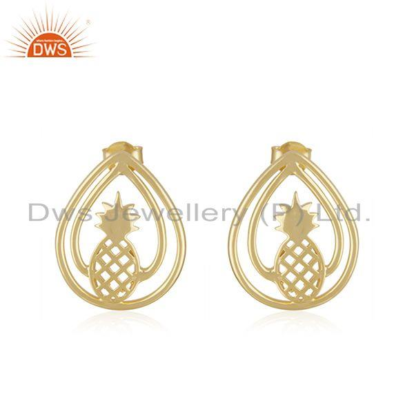 14k Yelow Gold Plated Sterling Silver Pineapple Stud Earring Manufacturer Jaipur
