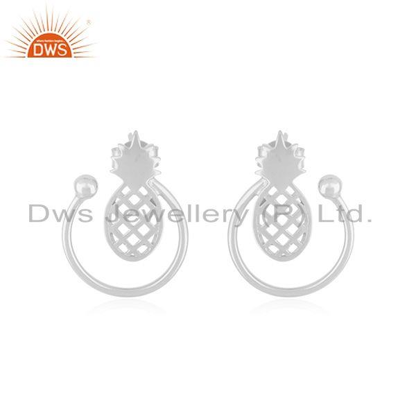 Solid Plain Silver Pineapple Customized Design Stud Earrings Manufacturer