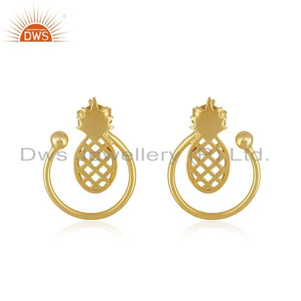 Yellow Gold Plated Sterling Silver Pineapple Stud Earring For Womens Jewelry