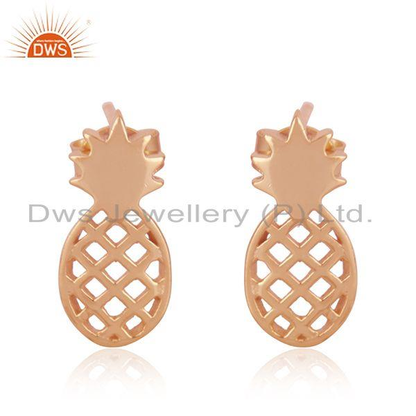 Pineapple Design Rose Gold Plated Sterling Silver Girls Stud Earrings