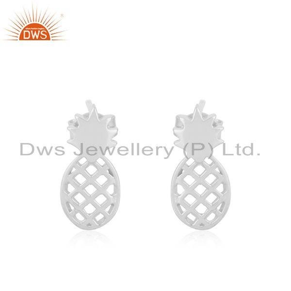 Customized 925 Sterling Silver Pineapple Stud Earrings Manufacturer of Jewellery