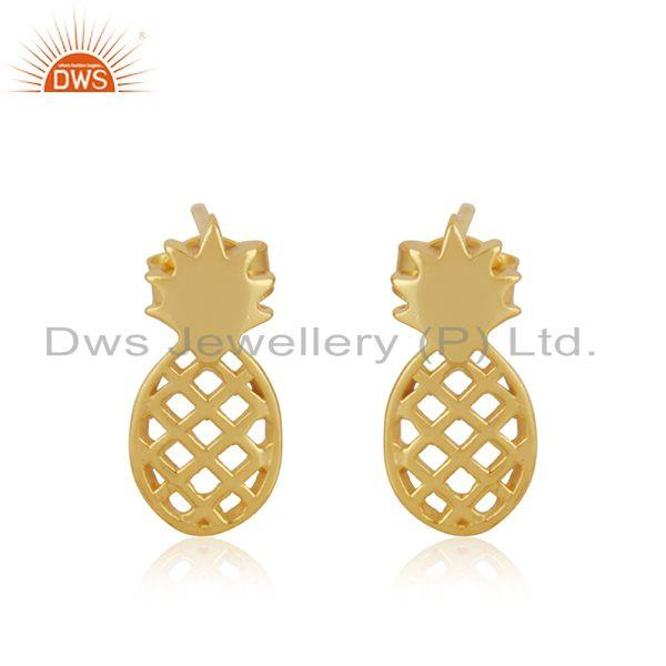 14k Yellow Gold Plated Sterling Silver Customized Pineapple Design Stud Earrings