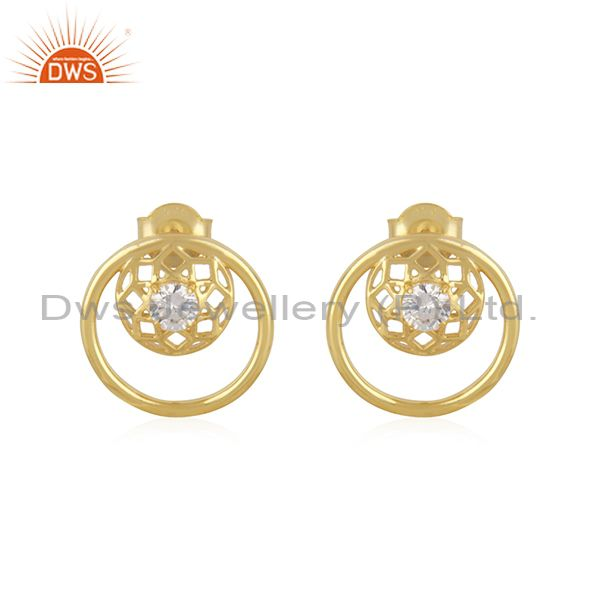 White Zircon Designer 925 Silver 14k Yellow Gold Plated Stud Earring Manufacture