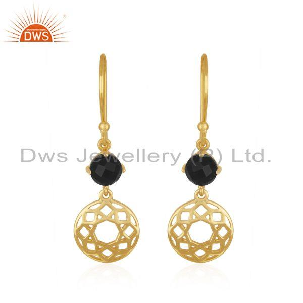 Black Onyx Gemstone Gold Plated Sterling Silver Earring Manufacturer