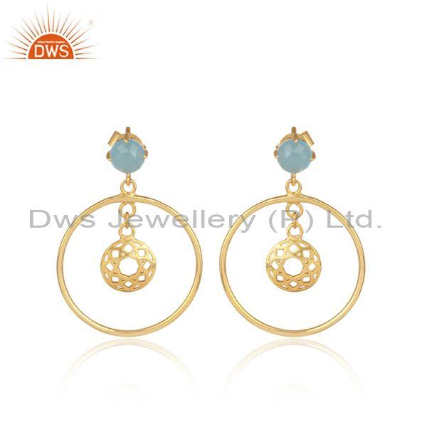 Blue Chalcedony Set Gold On 925 Silver Round Ethnic Earrings