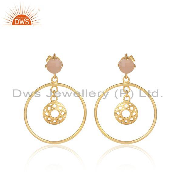 Rose Chalcedony Set Gold On 925 Silver Round Ethnic Earrings