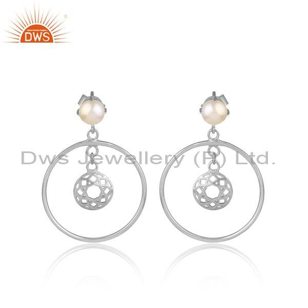 Pearls Set Fine 925 Sterling Silver Round Ethnic Earrings