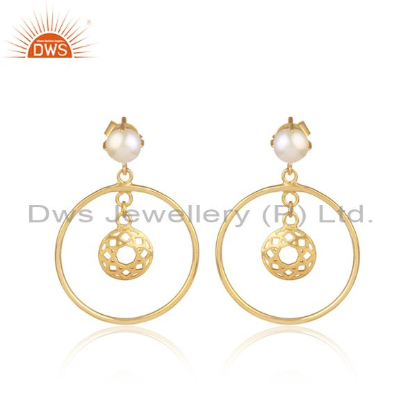 Pearls Set Gold On 925 Sterling Silver Round Ethnic Earrings