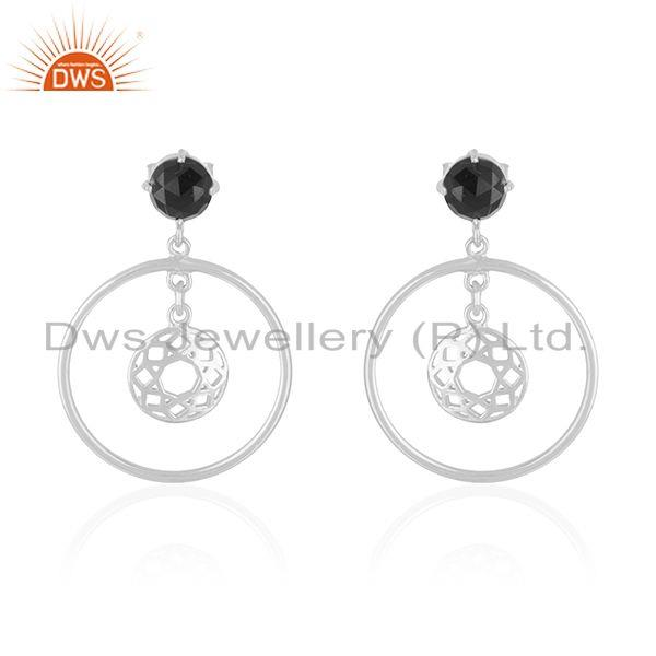 Black Onyx Gemstone 925 Fine Silver Designer Drop Earrings Manufacturer