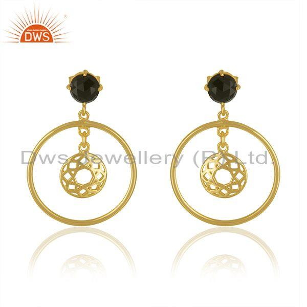 Black Onyx Gemstone Yellow Gold Plated 925 Silver Drop Earrings Wholesaler India