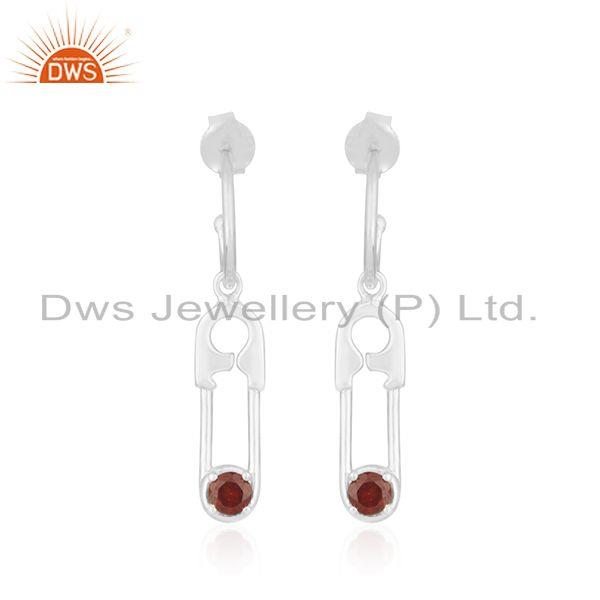 Natural Garnet Birthstone Fine Sterling Silver Pin Design Earring Wholesale