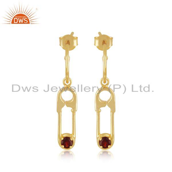 Garnet Gemstone Gold Plated 925 Silver Custom Pin Design Earring Wholesale
