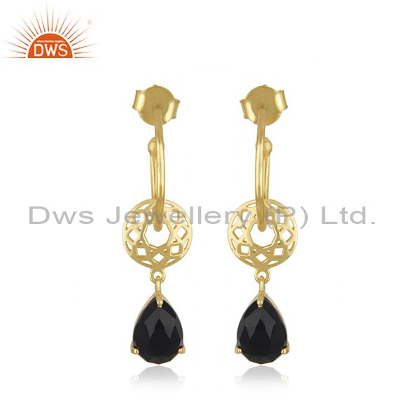 Gold Plated 925 Silver Black Onyx Gemstone Dangle Earring Manufacturer