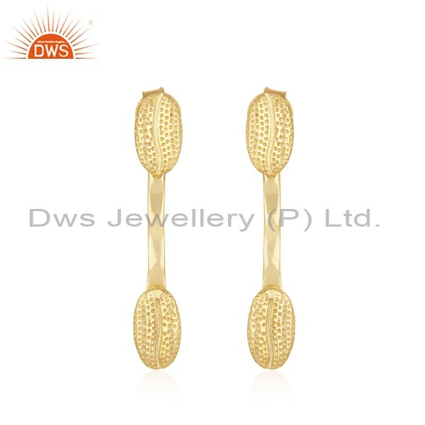 Handmade 925 Sterling Silver Yellow Gold Plated Designer Earring Wholesaler