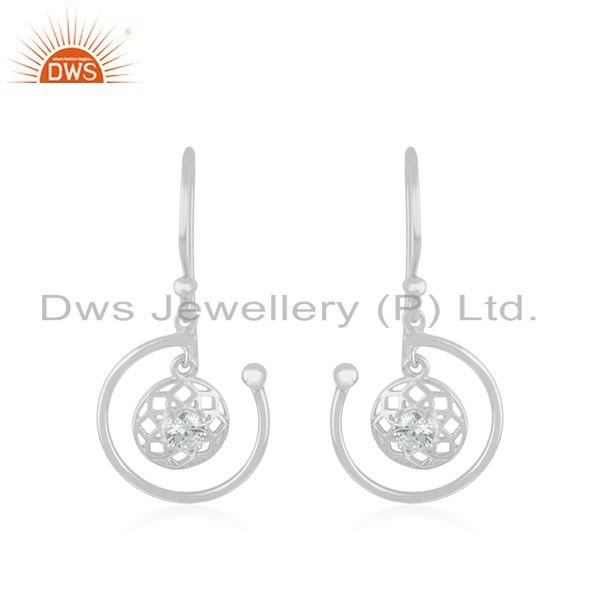Designer Fine Sterling Silver White Zircon Drop Earring Manufacturer in Jaipur