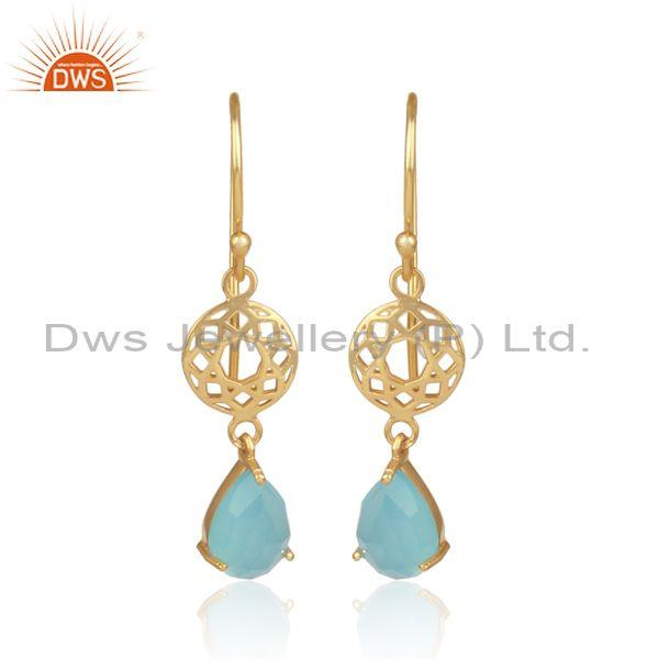 Aqua chalcedony set gold on silver designer ethnic earrings