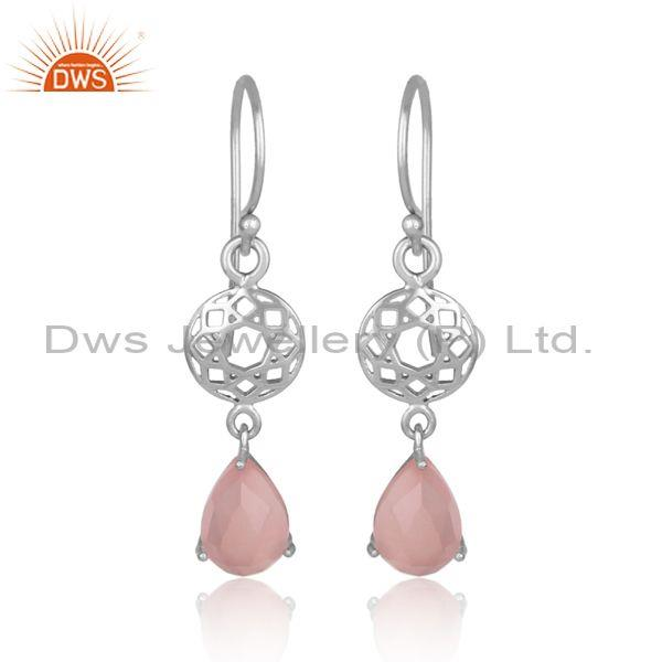 Rose chalcedony white rhodium on silver boho long earrings