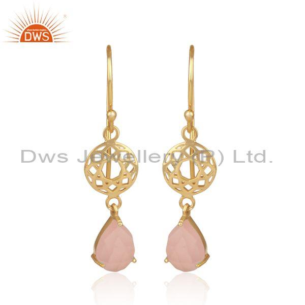 Rose chalcedony set gold on silver designer ethnic earrings