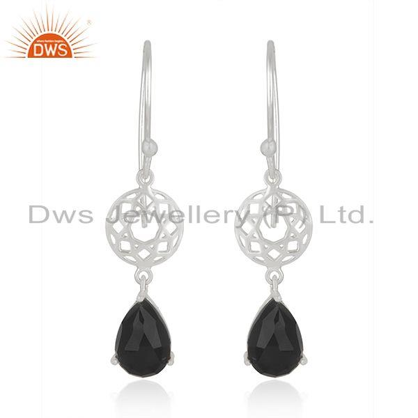 Black Onyx Gemstone 925 Sterling Fine Silver Dangle Earrings Jewellery for Women