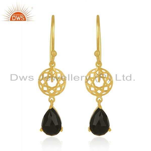 Black Onyx Gemstone 925 Silver GOld Plated Dangle Hook Earrings Wholesaler india