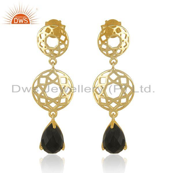 Designer Sterling Silver Gold Plated Black Onyx Gemstone Earrings Manufacturers