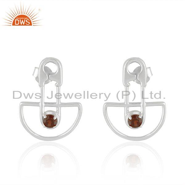 Customized Design 925 Sterling Silver Garnet Gemstone Stud Earrings Manufacturer