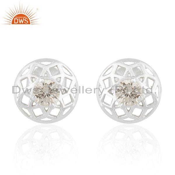 White Zircon Round 925 Sterling Silver Stud Earrings For Teenage Girls Jewelry