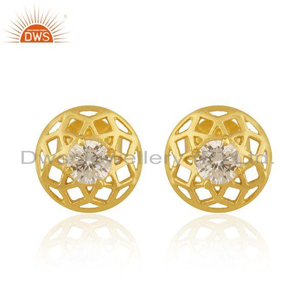 New Arrival Gold Plated 925 Silver White Zircon Round Stud Earrings for Girls