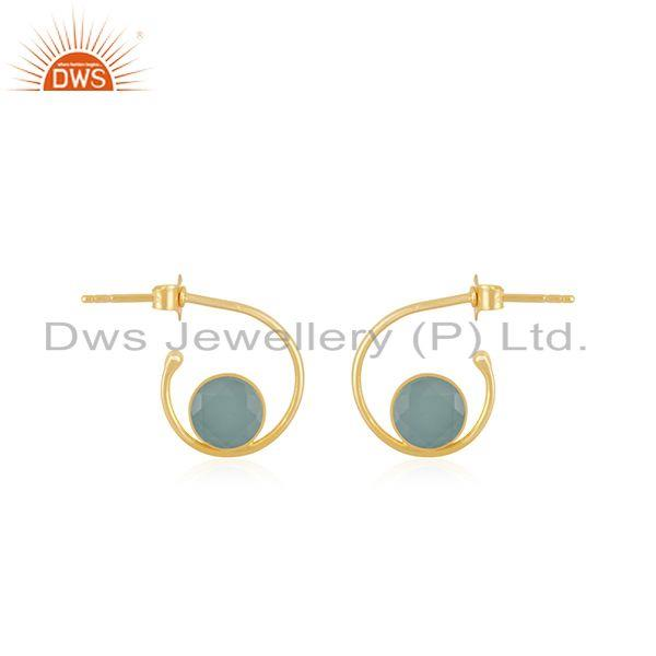 New Arrival Gold Plated 925 Silver Aqua Chalcedony Gemstone Hoop Earring