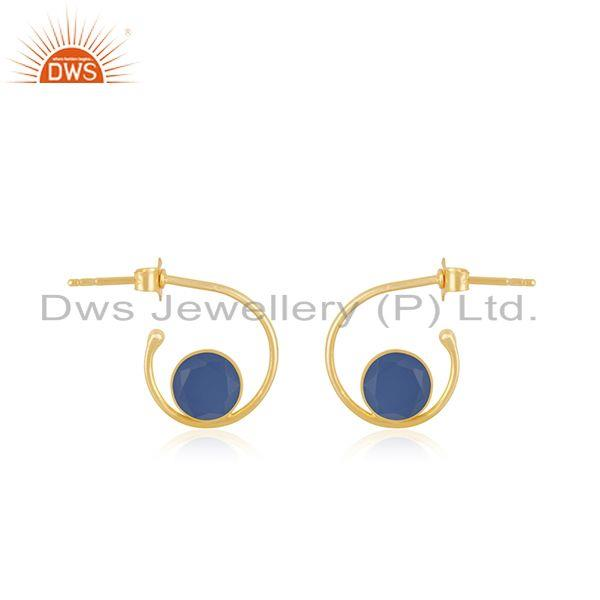 Blue Chalcedony Gemstone Gold Plated 925 Silver Hoop Earring Manufacturer