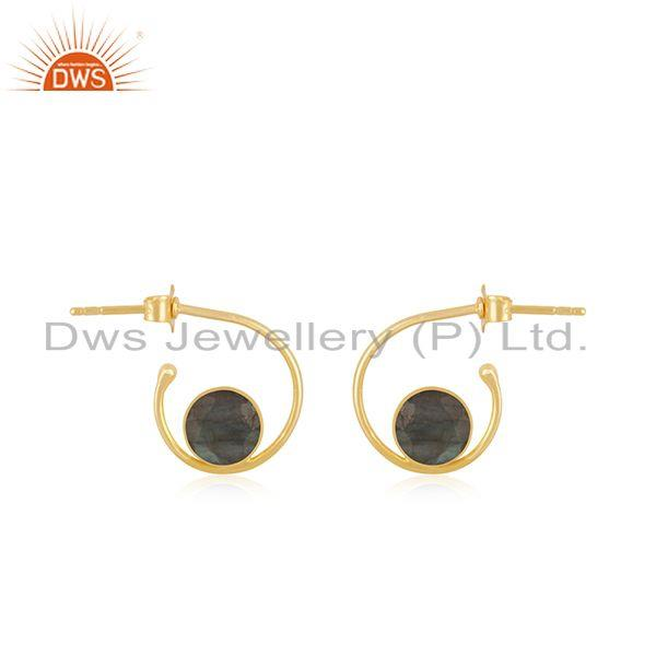 Yellow Gold Plated 925 Silver Labradorite Gemstone Hoop Earring Wholesale
