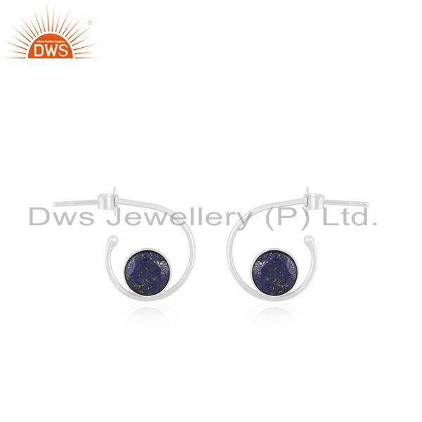 Genuine Lapis Lazuli Gemstone Fine Sterling 92.5 Mark Silver Girls Hoop Earring