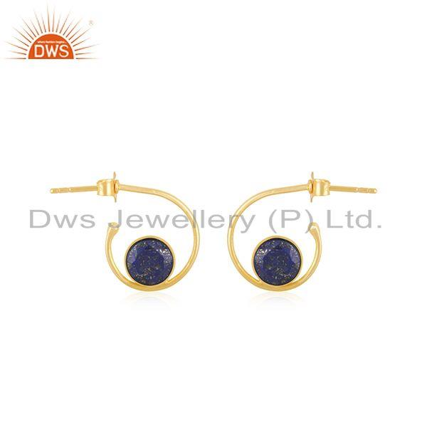 Lapis Lazuli Gemstone 925 Sterling Silver GOld Plated Hoop Earring Manufacturer