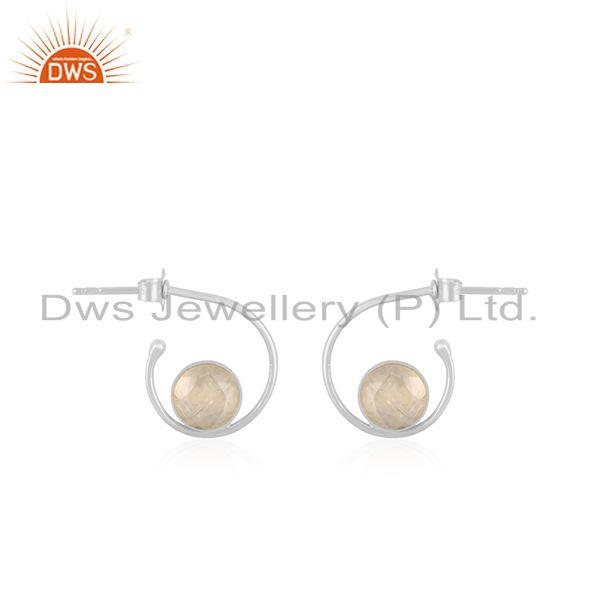 Rainbow Moonstone White Sterling Silver Hoop Earring Wholesale SUpplier