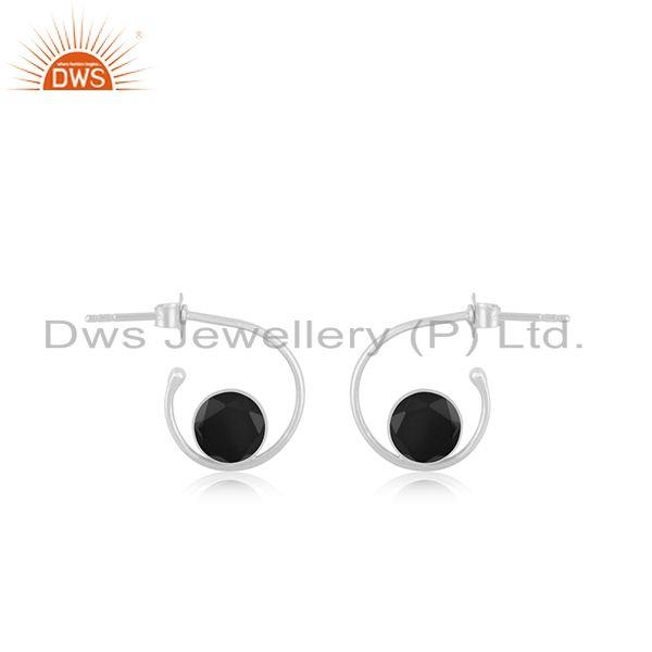 Handmade 92.5 Silver Black Onyx Gemstone Simple Hoop Earring Manufacturer Jaipur