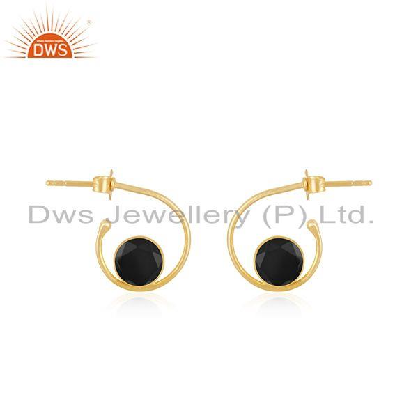 Black Onyx Gemstone 925 Sterling Silver Yellow Gold Plated Hoop Earring Supplier