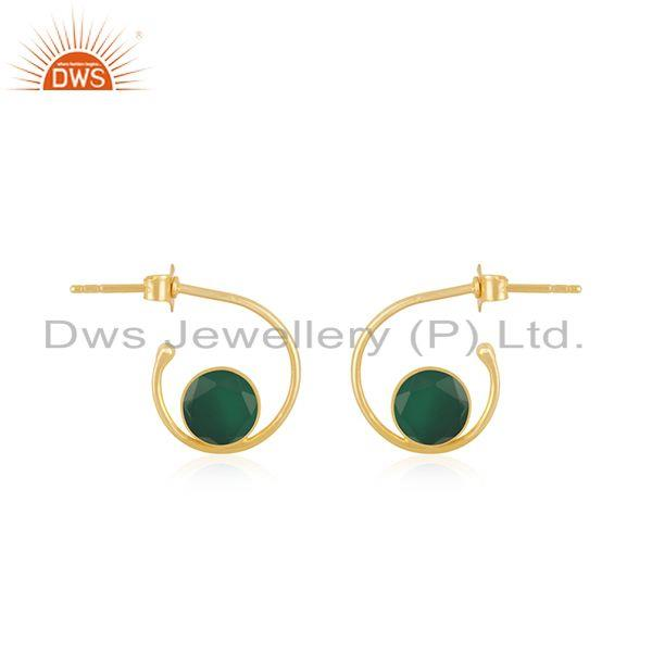 GReen Onyx Gemstone Sterling Silver Yellow Gold Plated Hoop Earring Wholesaler