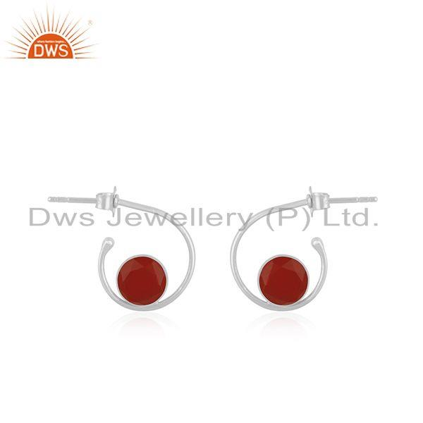Red Onyx Gemstone 925 Sterling Silver Hoop Earring Manufacturer in Jaipur India