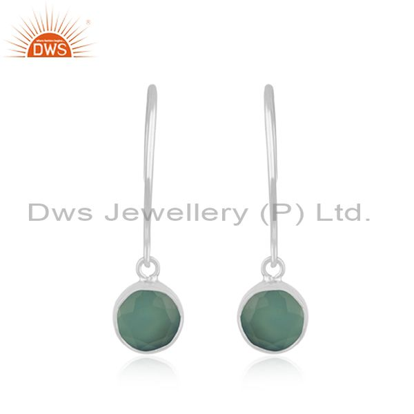 Aqua Chalcedony Gemstone 925 Sterling Silver Girls Earring Manufacturer Jaipur