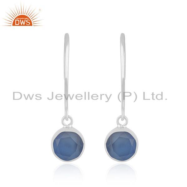 Handmade 92.5 Fine Sterling Silver halcedony Blue Gemstone Earring Wholesale