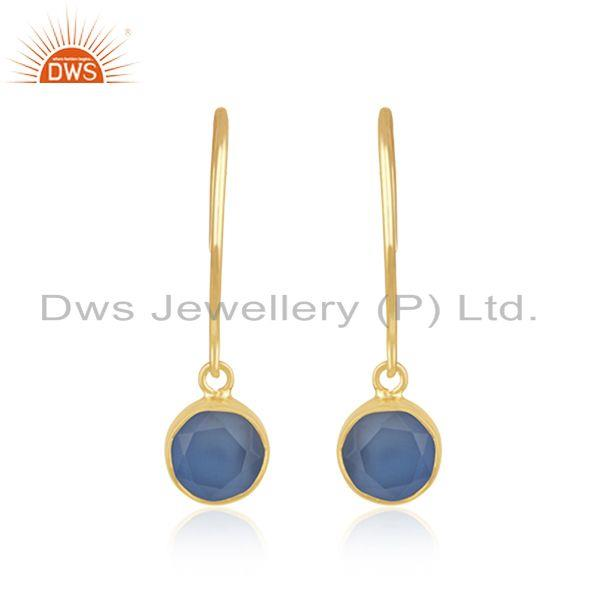 Chalcedony Blue Gemstone Sterling Silver Gold Plated Designer Earring For Womens